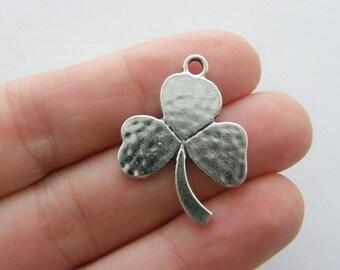 4 Shamrock charms antique silver tone L142