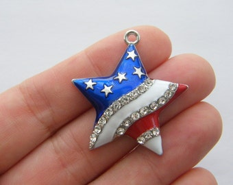 1 USA flag star charms silver plated WT207
