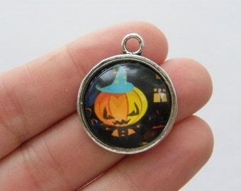 4 Pumpkin Halloween charms antique silver tone HC1