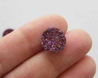 10 Purple resin druzy cabochon 12mm CB6