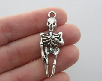 BULK 20 Skeleton charms antique silver tone HC161
