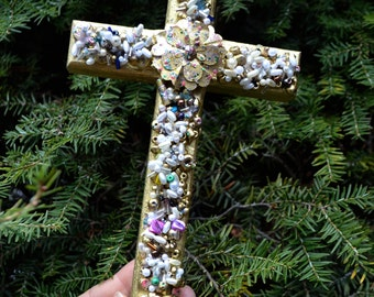Cross, jeweled Cross, beaded cross, religious wall cross, wall decor, communion cross, confirmation cross, wedding cross, art deco cross