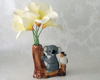mini ceramic kookaburra and koala bud vase figurine by Anita Reay AnitaReayArt Australian pottery art koala bear figurine