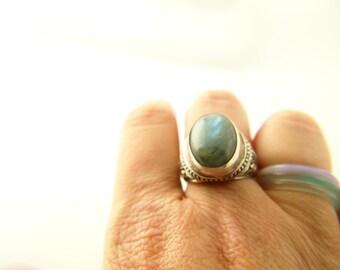 Labradorite Ring - Sterling Silver - Vintage