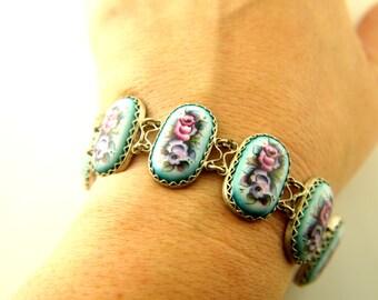 Porcelain Bracelet - Hand painted - Russian - Vintage