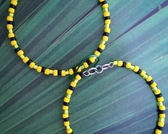Jamaican colors beaded hoops