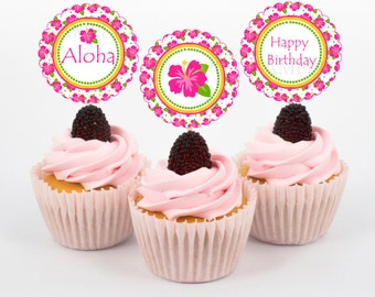 Hibiscus Luau Summer Party Cupcake Toppers, Luau Birthday Cupcake Toppers/Instant Download