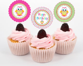 Owl Colorful Party Birthday Cupcake Toppers/Owl Birthday Cupcake Toppers/INSTANT DOWNLOAD