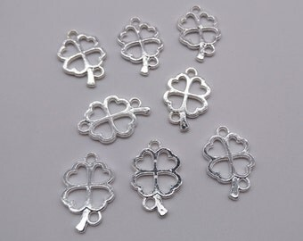 10 pcs Lucky Leaf Charms - 23 x 15mm ,Metal Charms, Alloy Charms, Metal Pendants, Leaf Charms, Saint Patrick day Charms