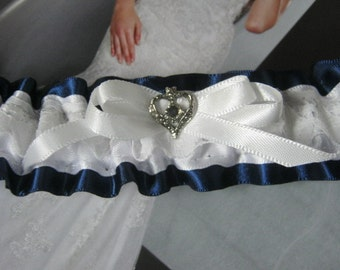 Navy Blue and White Garter