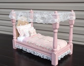Strawberry Pink Victorian American Girl Doll Bed distress with tufted Burlap Headboard / optional bedding dresser and side table