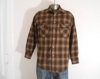 Vintage St. John's Bay Plaid Virgin Wool Shirt/Long Sleeved/Chest Size 42/Size Large
