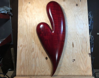 Red heart carved wooden heart wood carving Anniversary Gift for couple by Gary Burns the treewiz