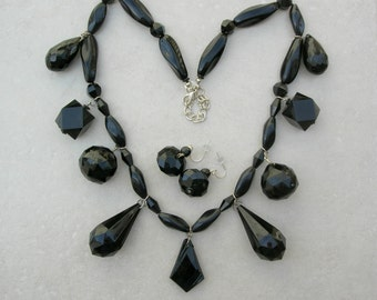 Big Bold Black Statement Necklace, Geometric Shapes, Matching Earrings, Redesigned Vintage Necklace Set by Sandra Designs