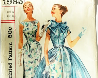 1950s Dress pattern, one piece sheath, sheer overdress, sleeveless dress, Simplicity 1985, misses size 12 bust 32, vintage sewing pattern