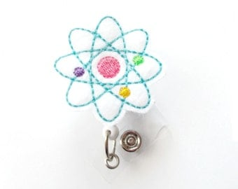 Atom Badge - Retractable Badge Reel - Science Badge Holder - Science Badge - Medical Badges - Felt Badge - Radiologic Tech Badge