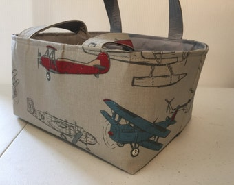 Baby Organizer, Diaper Caddy, 12 X 10 X 7 Vintage Airplane  with adjustable and removable dividers CHOOSE  YOUR FABRIC