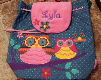Personalized monogram girl owl Stephen Joseph quilted backpack,diaper bag,baby shower gift