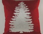 """Embroidered Decorative Pillow Cover - Pine Tree - 18"""" x 18"""" Red - Christmas - Holiday"""