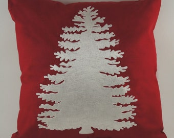 "Embroidered Decorative Pillow Cover - Pine Tree - 18"" x 18"" Red - Christmas - Holiday"