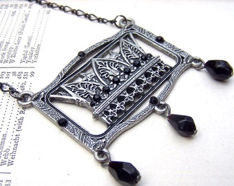 Art Nouveau Necklace 1920s 1930s Art Deco Necklace Silver Estate Style Black Necklace Neo Victorian Old Hollywood Art Deco Jewelry