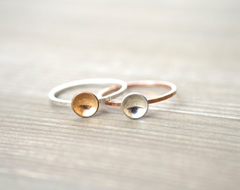 Cup Ring - Mixed Metal, Sterling Silver, Gold Filled, and Rose Gold Filled