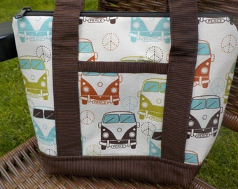 VW Bus Zippered Purse with Outside Pocket
