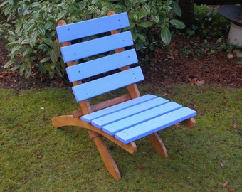 Beautiful Two-Color Cedar Deck Chair, Garden Chair (choose 2 favorite colors) - Storable -  patio furniture handcrafted by Laughing Creek