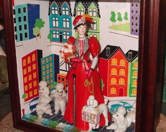 Mrs. Albee & Poodles  Shadow Box