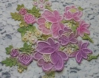 Pink Flower Lace Cluster Venise Lace Flowers Hand Dyed Embellishment Applique