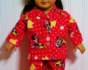 MINNIE MOUSE Flannel Pajamas fit 18inch Dolls - Proudly Made in America