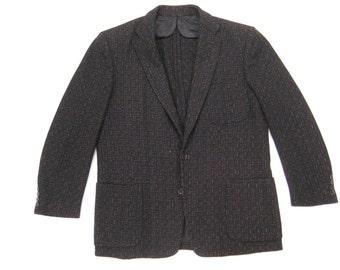 1950s Pink Atomic Fleck Jacket Vintage Mid Century Black Wool Rock & Roll Wool Prestige Clothes 50s Rockabilly Sport Coat 38/39 Extra Short