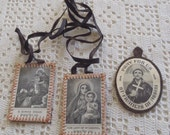 Vintage Scapulars St. Francis of Assisi St. Simon Stock Our Lady of Mt. Carmel