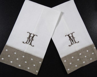Monogrammed Linen and Cotton Guest Towels (set of 2)