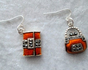Pursed Diva Bling Earrings - Rust and Crystal Enamel Earrings - Whimsical and Cute - One of a Kind - Trendy - Chic and Classy - Cutie Pie