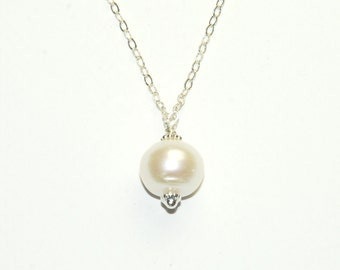 Pearl Solitaire Necklace - Large Genuine Pearl - June Birthstone - Wedding Jewelry - Beach Jewelry - White Pearl