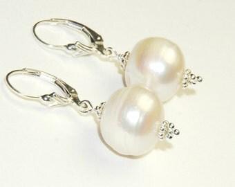 Genuine Pearl Earrings - Huge White Pearls - Big Pearls - Sterling Silver leverback ear wires - Freshwater Pearls - Short Earrings
