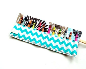 Crayon wrap, turquoise brown, crayon roll, kids coloring gift, toddler gift, party favor, treat bag gift, boy girl gift, birthday gift