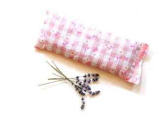 Organic lavender eye pillow, pink gingham floral, spa relaxation meditation gift for women, hot cold treatments, stocking stuffer