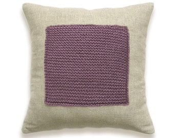 Color Block Linen Knit Pillow Cover In Mauve Ash Pink Dusty Lilac Antique Fuchsia Purple Violet Flax Beige 16 in Wool Cushion Garter Stitch