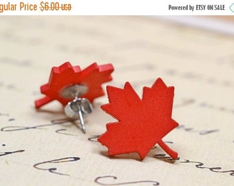 SALE Red Maple Leaf Earrings / Woodland Forest Inspired Studs / Fall Fashion, Autumn Trends, Canada Jewelry