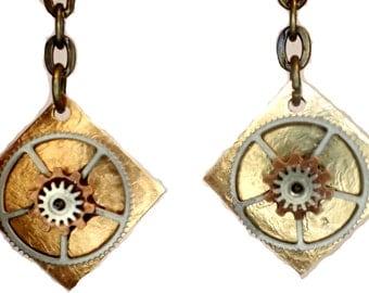 Steampunk Gearrings drop style gears on hand hammered brass earrings