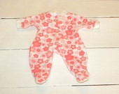 Coral Patterned Footed Sleeper - 14 - 15 inch doll clothes