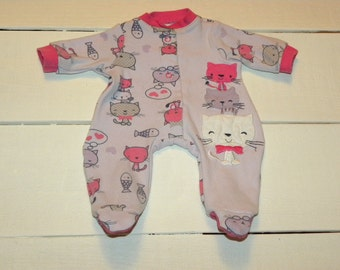 Kitty Patterned Footed Sleeper - 14 - 15 inch doll clothes