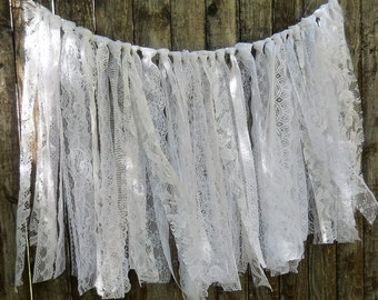 "Long Lacey White Shabby Garland  18"" length Wedding Bridal"