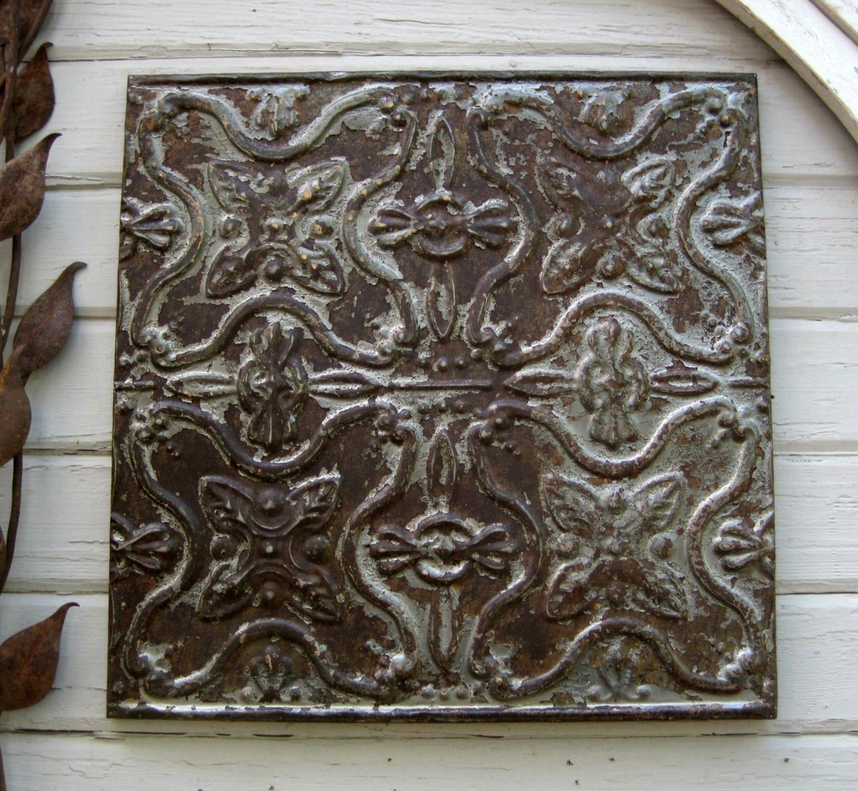 Tin Ceiling Tile Rustic Architectural Salvage Antique