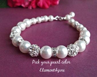 Bridal bracelet. Bridesmaid bracelet. Wedding pearl bracelet. Bridesmaid jewelry. Rhinestone pearl bracelet. Swarovski Pearls ivory