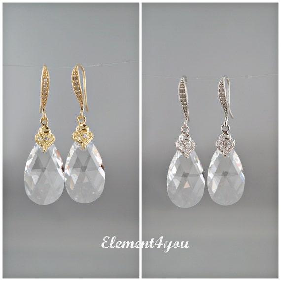 Clear teardrop crystal earrings Bridal teardrop earrings Fancy CZ earwires Swarovski tear drop Wedding jewelry Mother of bride earrings