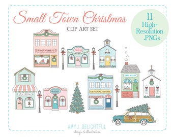 Small Town Christmas Holiday CLIP ART SET for personal and commercial use - tree, main street, old fashioned, station wagon, storefronts