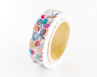 Space Craft Gold Foil Stamped Japanese Washi Masking Tape / Colorful Pebbles for scrapbooking, packaging, invitation, card making